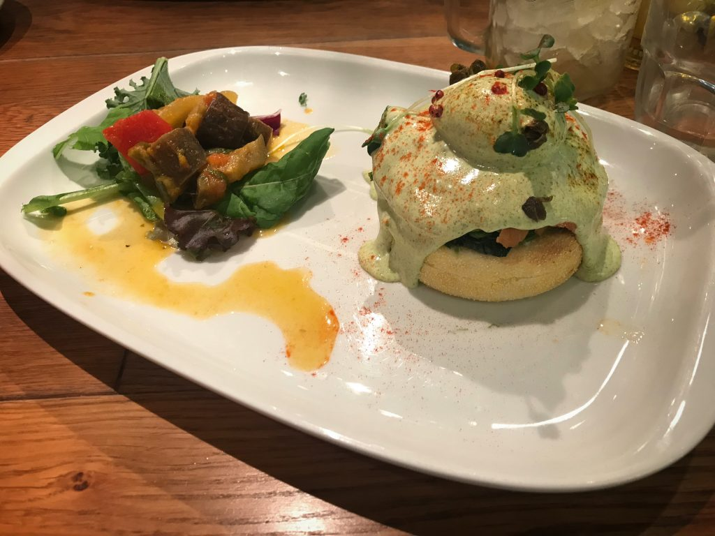 Salmon, Trout, and Avocado Egg Benedict